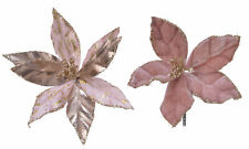 6 x assort Soft Pink & Gold Clip on Poinsettia Christmas Tree Flower Decorations