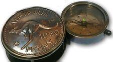 Australia 1930 Vintage Sliding Style Compass Brass & Copper W/Leather Case New