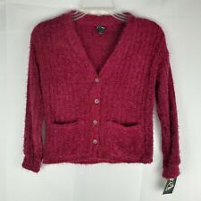 Art Class NWT Girls Cozy Button Up Sweater ~ Sz M (7/8) ~ Burgundy ~ Long Sleeve