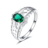 Emerald & Tanzanite & White Topaz Gemstone Silver Ring Size 6 7 8 9 For Women