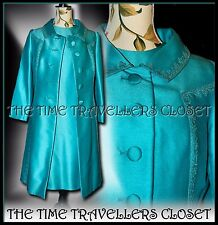 Vintage 60's Jackie O' 2-Piece Blue Embroidered Braid Dress Suit Jacket UK 10 12