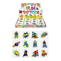 Children's Temporary Super Hero Tattoos - Party Bag Filler Pinata Favours Gifts