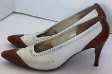 Vintage 50s White Brown Spectator Pointy Toe Shoes Mister J Spiked Heels Size 5