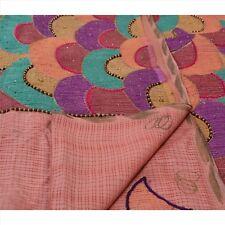 Vintage Indian Saree 100% Pure Silk Hand Beaded Craft Fabric Cultural Sari