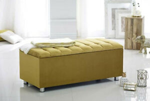 New Fabric Storage Ottoman Blanket Box Upholstered Large Pouffe Footstool Seat