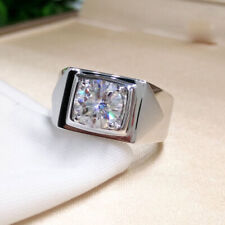 2Ct DF Round Cut Moissanite Solitaire Men's Engagement Ring 14K White Gold Over
