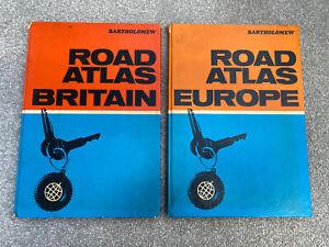 Road Atlas Britain & Europe 1975/1976 Edition Hardcover Bartholomew Vintage