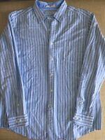 Nautica Men's Large Blue Striped Slim Fit  Button Down L/S Oxford Dress Shirt