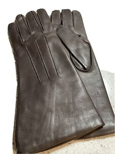 Ladies Coach Brown Leather Cashmere Gloves Sz 7 NWOT $99