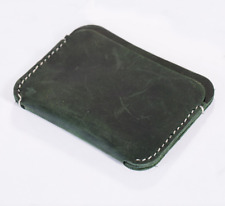 men women wallet purse cow Leather Card bag Cases ID bifold customize green Z75-