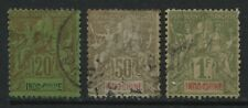 French Indochina 1892 20 and 50 centimes and 1 franc used