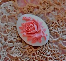 ~Vintage Single Rose Cameo~Acrylic 40X30mm Button~Pretty Pink on White~ >^..^<