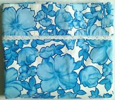Vtg. WABASSO Floral Bedsheet Flower Power TWIN FLAT Hibiscus Blue 100% Cotton