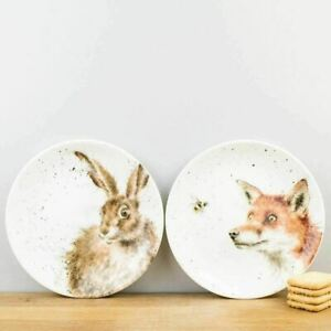 New Royal Worcester Wrendale Designs Hare & Fox Porcelain Coupe Plates Set of 2