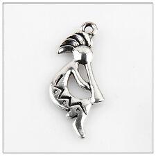 40 Kokopelli Tibetan Silver Charms Pendants Jewelry Making Findings 31mm*13mm