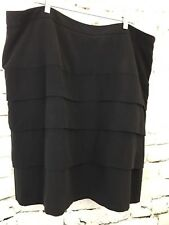 Larry Levine Woman's Skirt Pencil Black Stretch Tiered Career Lined Plus Sz 24W