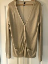 Topshop, Boyfriend Cardigan In Gold With Metallised Fibre, Size 16