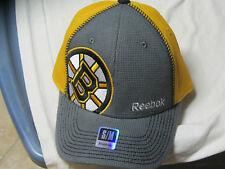 "BOSTON BRUINS ""REEBOK"" FLEX FIT HAT (S/M) GRAY & GOLD W/ ""B"" OFF CENTER NWT"