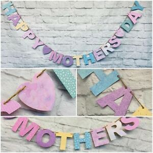 PUB Happy Mothers day Banner Bunting. PINK PURPLE YELLOW LILAC Party Decorations