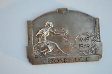 ANTIQUE SOLID BRONZE DUTCH (HEALTHY AIR) MEDAL DEPICTING A SEMI-NUDE BEAUTY