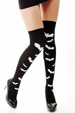 Halloween Stockings Over the Knee Black White Bats Bat Vampire Witch Gothic