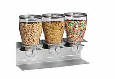 Zevro Commercial Triple Dry Food Storage Canister Dispenser Silver Container
