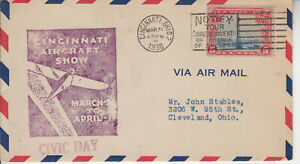 EVENT CINCINNATI AIRCRAFT SHOW CIVIC DAY MAR 31 1930 ULTRA CACHET POSTED =W/ C11