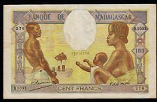 Madagascar BANKNOTE YEAR 1937, 100 Francs,XF+++ CONDITION