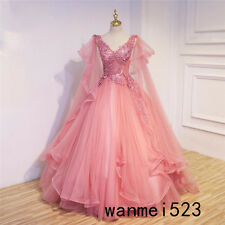 2018 Gothic Princess Medieval Celtic Wedding Dress Pink V Neck Fairy Bridal Gown