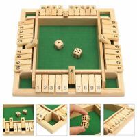 2 /4 Players Shut The Box Wooden Traditional Pub Dice Family Kids Childrens