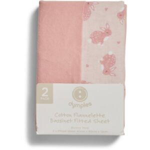Dymples Baby Flannelette Bassinet Fitted Sheet 2 Pack - Pink