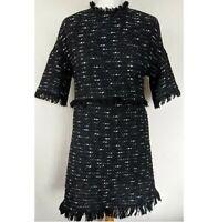 Sold Out Zara Black Boucle Frayed Hem Short Sleeve Dress Mini Aline Tweed Small