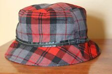 Coach Bucket Hat Wool Red Black Tartan Plaid Leather Trim Sz S B2