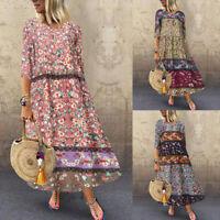 ZANZEA 10-24 Women Summer Long Maxi Sundress Gown Bohemian Printed Floral Dress