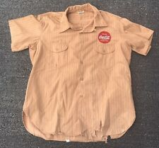 Vintage 1960s Coca Cola Lee Sanforized Button Shirt Workwear Orange Pinstripe