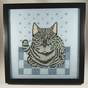HANDMADE Blue & Gray Cat Completed Cross Stitch Framed Art Wall Hanging Tabletop
