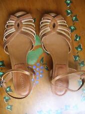 nº 40 preciosos zapatos sandalia piel tiras con tacon mujer beige marron NUEVAS