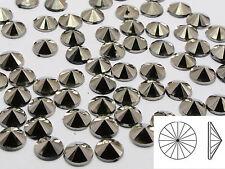 200 Silver Acrylic Round Pyramid Flatback Rhinestone Gems 8mm Cone Shaped