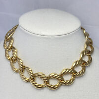"""Vintage Signed Erwin Pearl Gold Tone Chunky Chain Link Choker 16"""" Necklace"""