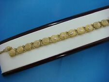 ANTIQUE 14K GOLD LADIES BRACELET WITH 5-DIAMONDS 6.25 INCHES, 10.5 GRAMS.