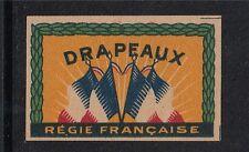 Ancienne petite   étiquette  Allumettes France  Drapeaux sans prix