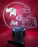 Minnesota Vikings Lamp LED Light Up Night Light With Remote Free Personalized