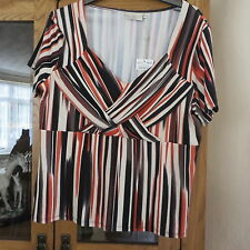 CC Petite Orange/black/beige stripe top size Large   BNWT