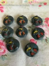 8 Sailor    Vintage  Plastic Buttons - Painted Design