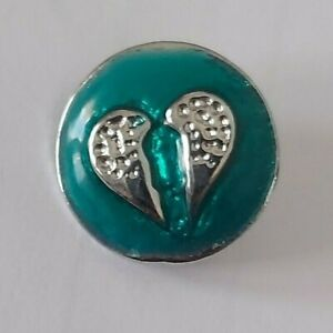 12mm mini petite snap for Ginger Snap jewelry - teal with silver angel wings