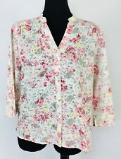 Alfred Dunner Women's Semi-sheer Floral blouse Pink Yellow Green Size 14P #N