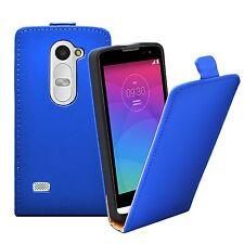 Ultra Slim BLUE Leather Flip Case Cover for LG Leon (4G LTE H340N) +2 FILMS