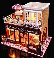Proyecto de artesanía miniatura bricolaje de madera casa de muñecas mi tienda de café en Irlanda 16