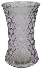 Lilac Glass Flower Vase Wide Mouth Flower Vase Waisted Design Etched Design