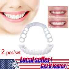 US 2 pcs Upper&Lower Comfort Flex White Fake Teeth Cover Veneer Denture Wide